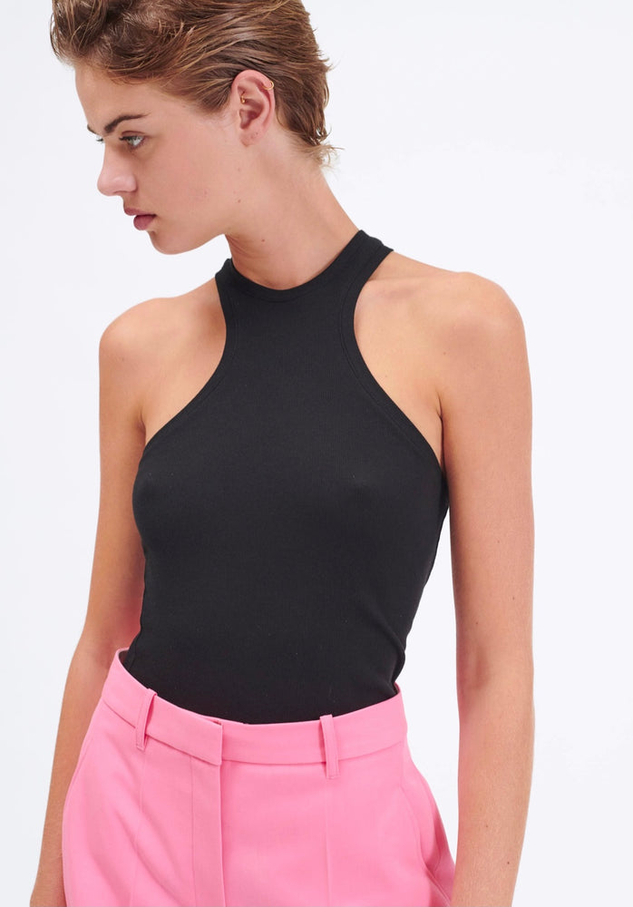 BARBARA BUI RIBBED JERSEY HALTER TANK TOP black