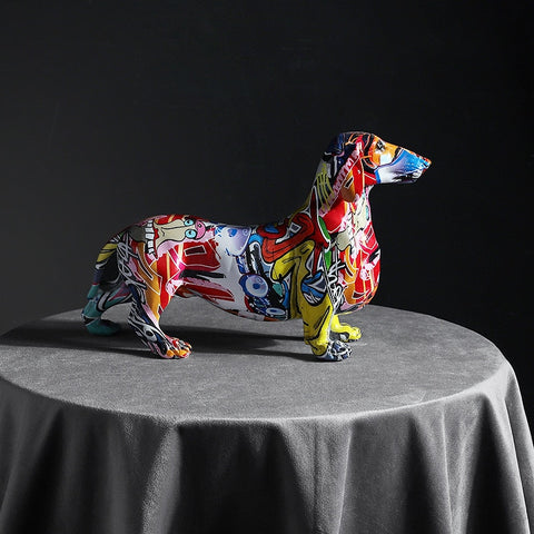 Creative Modern Painted Dachshund Dog