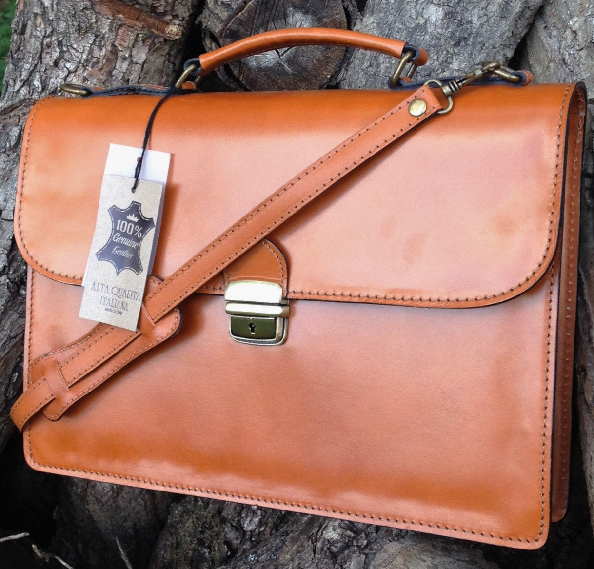 "15"" Bilero Tan Leather Briefcase"