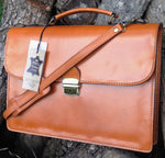 "Load image into Gallery viewer, 15"" Bilero Tan Leather Briefcase"