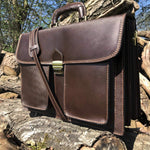 "Load image into Gallery viewer, 16"" Dark Brown Solumeno Leather Briefcase"