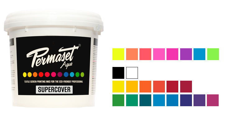 PERMASET SUPERCOVER eco-friendly opaque screen printing inks for light and dark toned fabrics