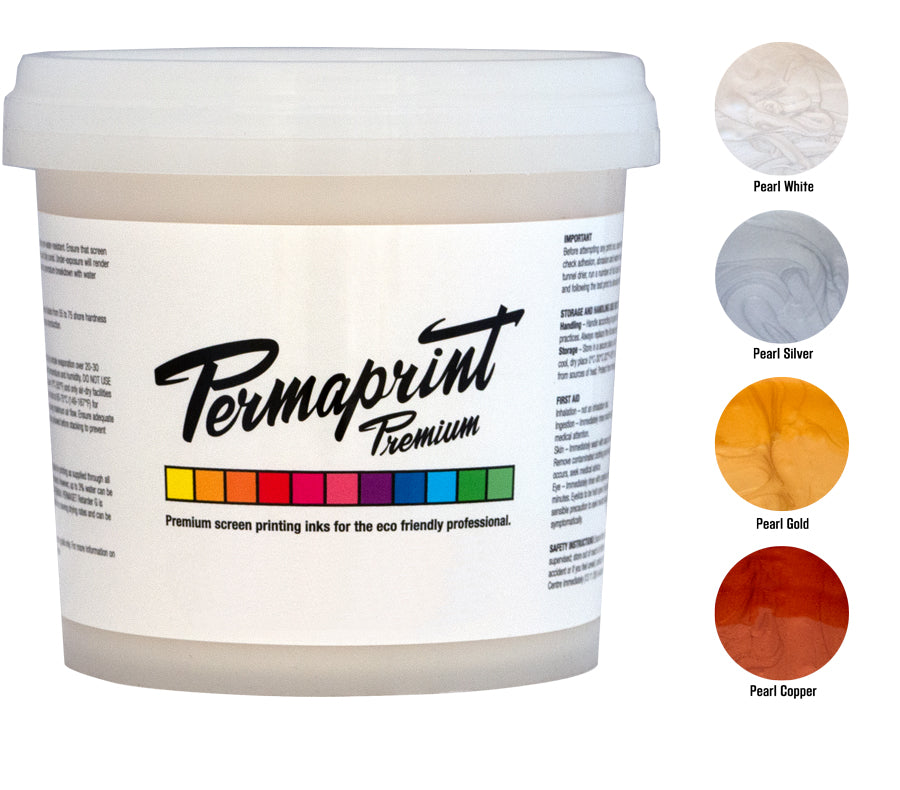 Gold, Silver, Copper and Pearl White water-based screen printing ink for paper