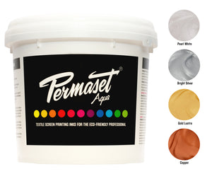Gold, Silver, Copper and Pearl White water-based screen printing ink - PERMASET AQUA 4 x 1L trial kit