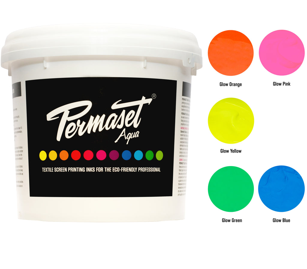 PERMASET AQUA eco-friendly glow inks are available in 1L and 300mL trial kits