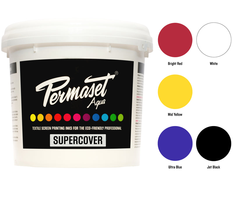 PERMASET SUPERCOVER Inks for screen printing on dark fabrics are available in 300 mL and 1 L intro kits