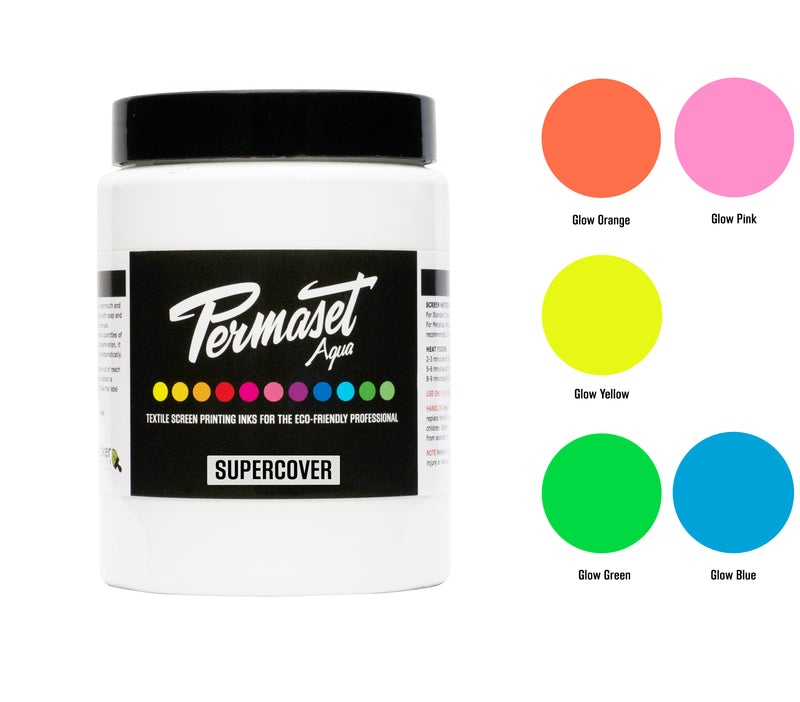 300 mL x 5 PERMASET SUPERCOVER Trial Kit - Water-based opaque glow inks for dark fabrics