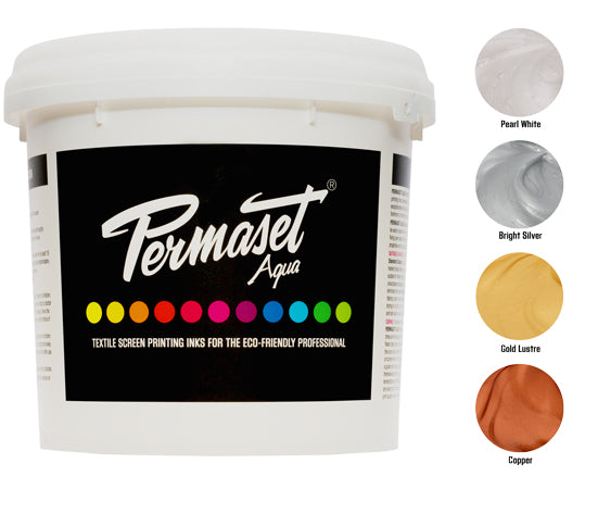 Gold, Silver, Copper and Pearl White water-based screen printing ink - PERMASET AQUA