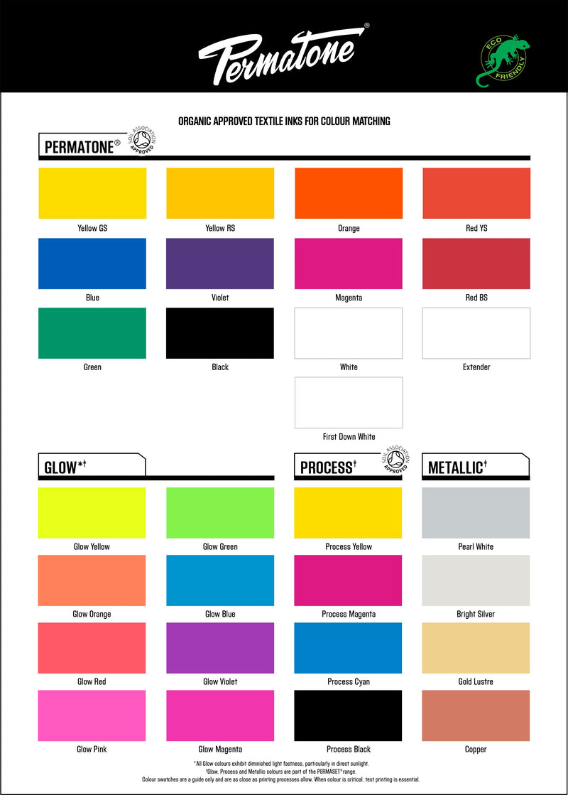 PERMATONE soil association approved textile screen printing inks for color matching
