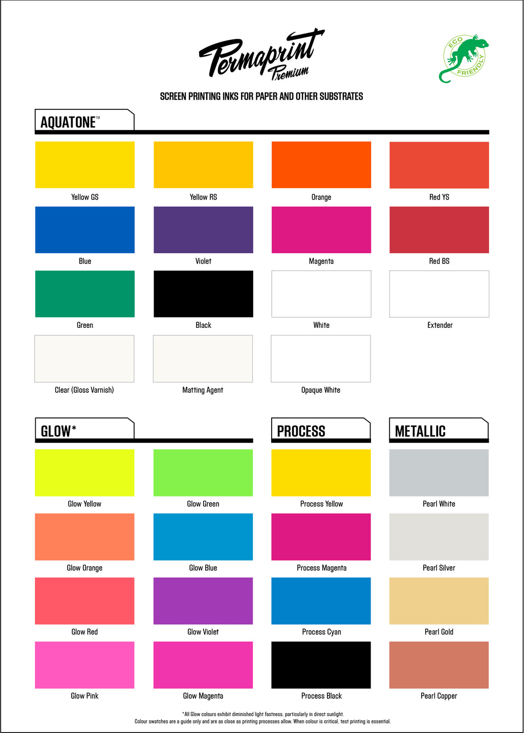 PERMAPRINT PREMIUM water-based inks for paper and other substrates color guide