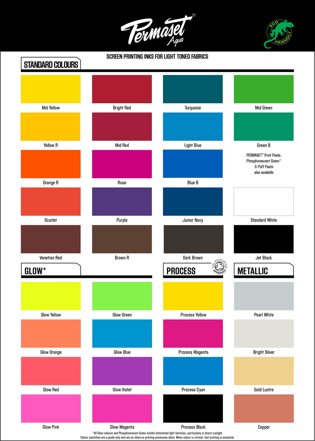 PERMASET AQUA water-based screen printing inks complete color guide
