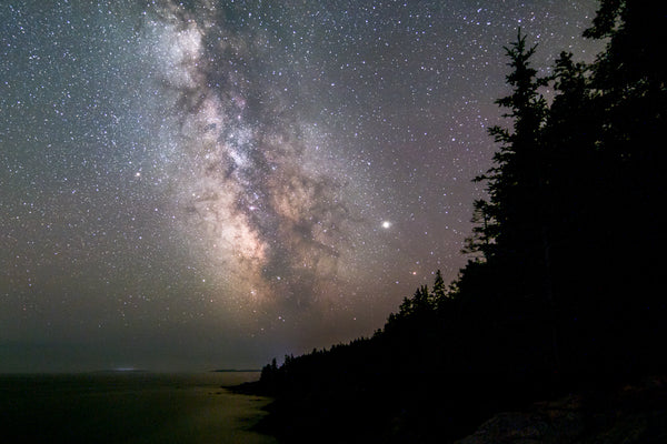 The Milky Way core high in the sky at Acadia National Park in Maine