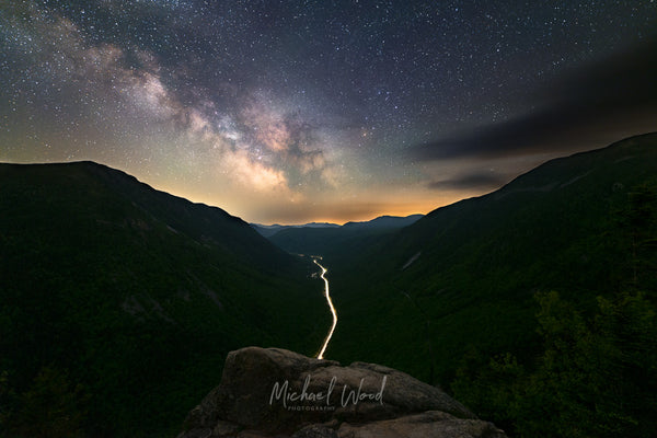 Milky Way core shot from Mt. Willard looking over Crawford Notch in the White Mountains of New Hampshire