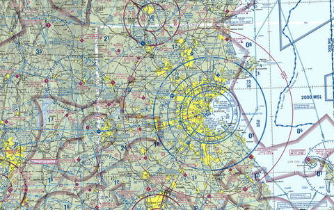 FAA sectional chart for Boston, MA airspace
