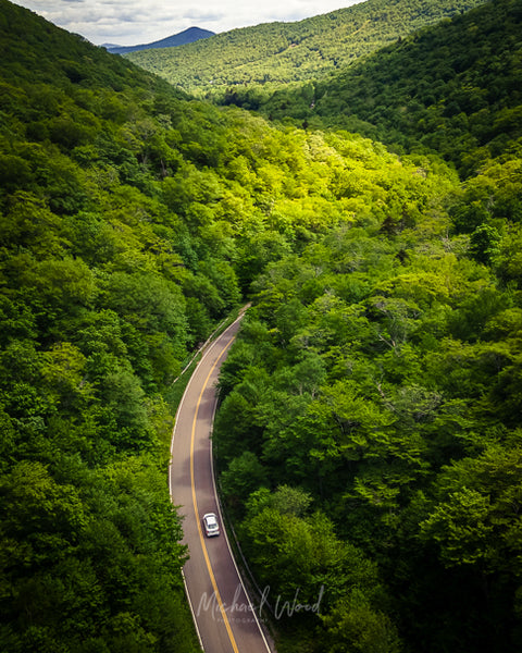 Aerial view looking south down Smuggler's Notch toward Camel's Hump in Vermont