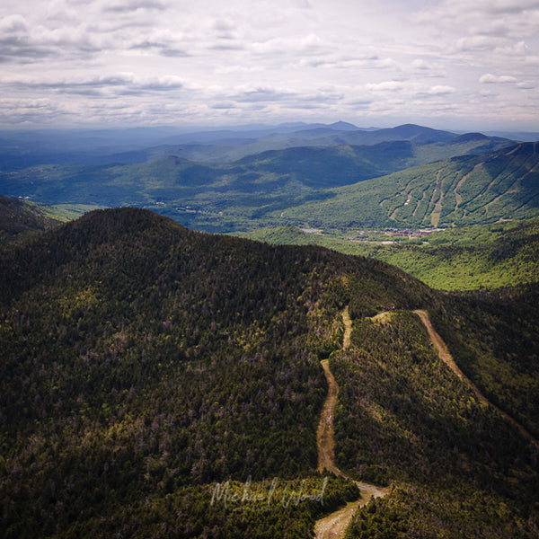 Aerial view of Smuggler's Notch Resort looking south over Stowe, Vermont