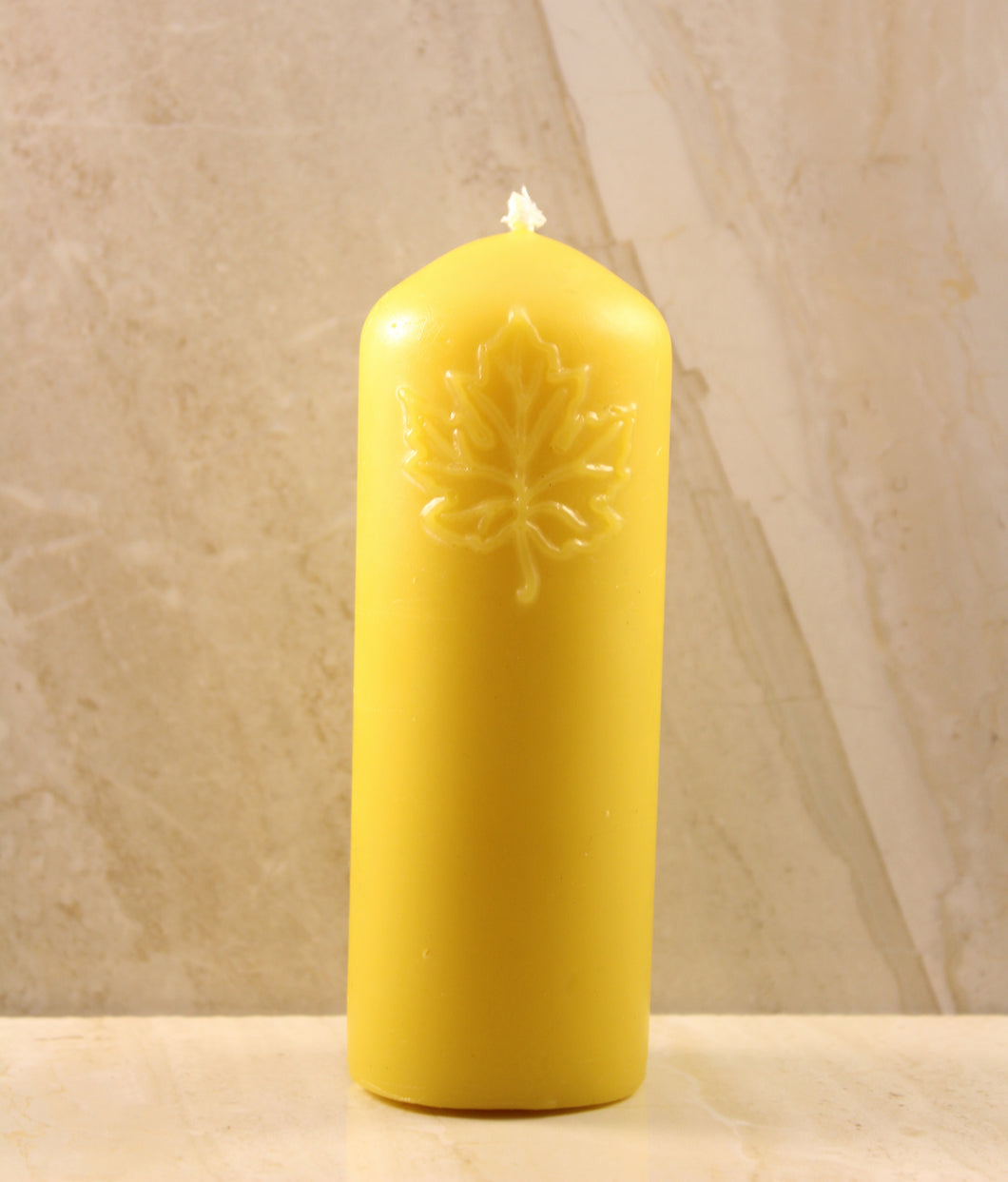 Maple Leaf Pillar Beeswax Candle (Large) 1.75
