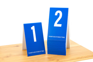 Tall blue table numbers in number sequence 1-20. These top selling table numbers are perfect for any food service environment. www.citygrafx.com.