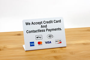 Credit card and contactless payment counter signs. Visit us at www.citygrafx.com.