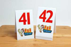 "Custom printed 6"" tall table numbers. Perfect for the food service industry. Visit us at www.citygrafx.com."