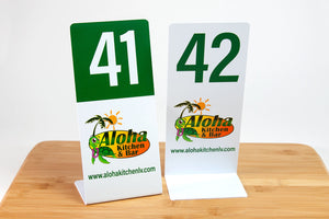 Double L table numbers are custom printed with your logo. Ideal for use in restaurants and food service environments. Visit us at www.citygrafx.com.