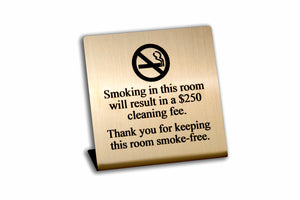 Engraved No Smoking Room Signs. Gold face with black text. www.citygrafx.com.