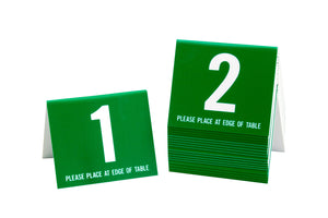 Standard table numbers in green w/ white number. www.citygrafx.com