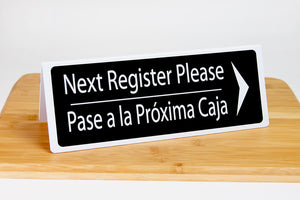 Next Register Bilingual Signs w/ Arrow. Tent style bilingual register signs are ideal for any grocery or retail environment.