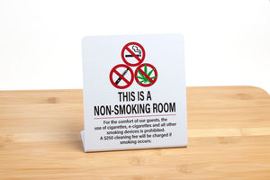 No Smoking signs for hotel guest rooms have a $250 cleaning fee listed should smoking occur. No smoking signs are ideal for hotels and events. Visit www.citygrafx.com.