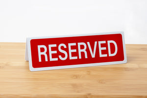 Reserved tabletop signs for restaurants, caterings and events. www.citygrafx.com.