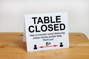 Large Table Closed Signs perfect for use in restaurants and business environments. Visit us at www.citygrafx.com.