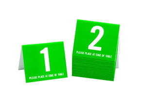 Standard table numbers in lime green w/ white number. www.citygrafx.com