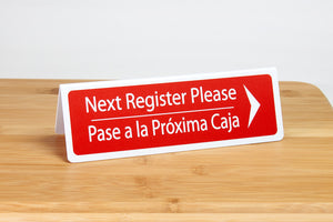 Bilingual Next Register Please Signs are ideal for any grocery or retail environment. www.citygrafx.com.