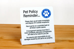 Pet policy sign for hotel guest rooms, vacation rentals and event venues. Signs reminds guests of your pet policy when staying at your property. Visit us at citygrafx.com.
