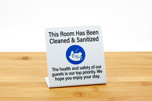 Room has been cleaned and sanitized reassures your guets that their room has been throughly cleaned. Signs are ideal for use in hotel guest rooms, vacation rentals and event venues. www.citygrafx.com