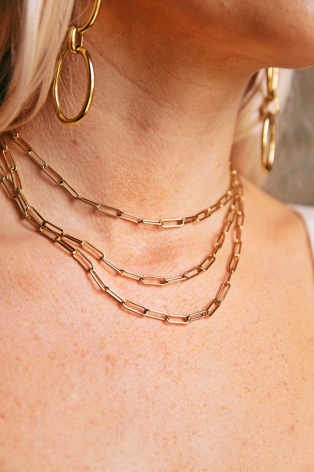 Rectangle Chain Necklace Stack