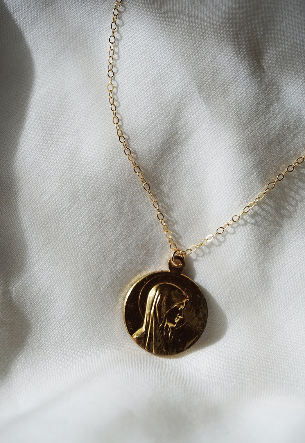Vintage gold filled Mary pendant