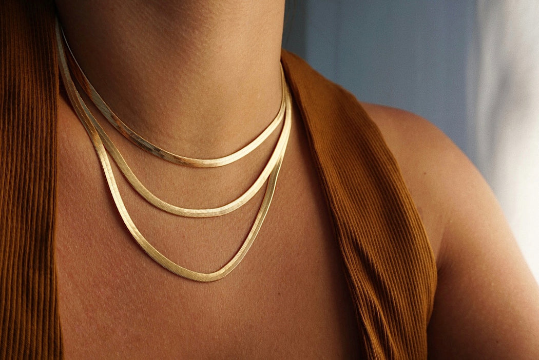 Gold Filled Herringbone Necklace, Snake Chain Necklace