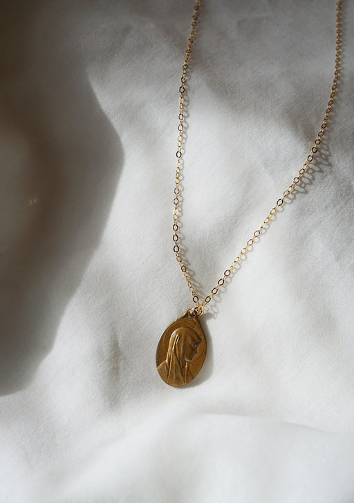 Vintage Mary medal necklace, 14k gold filled!