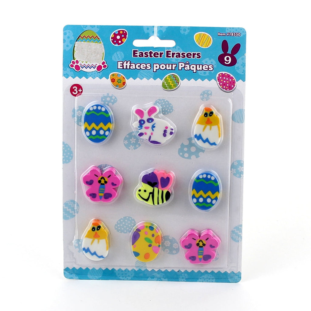 Easter 9pcs Die-Cut Erasers Blister Card