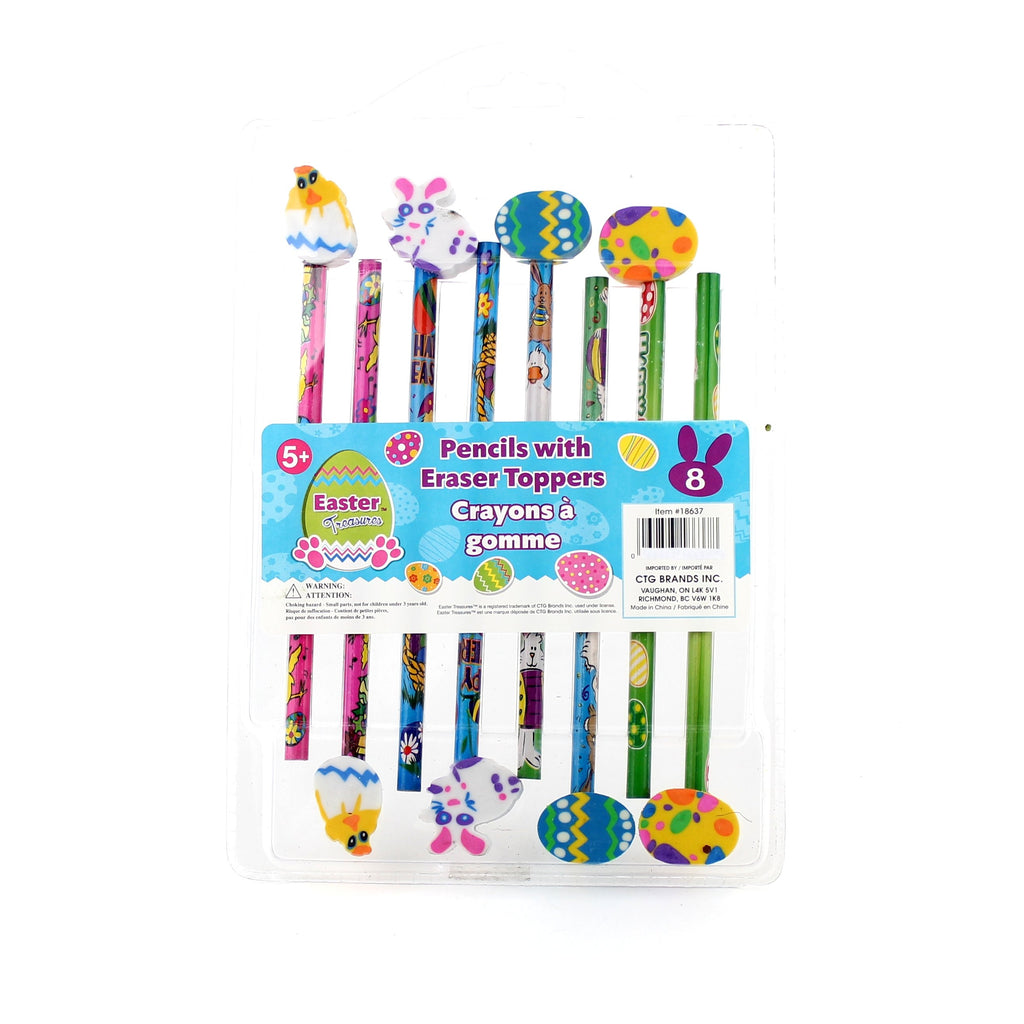 8-pc Easter Pencils w/Eraser    Toppers Clam Shell w/Label