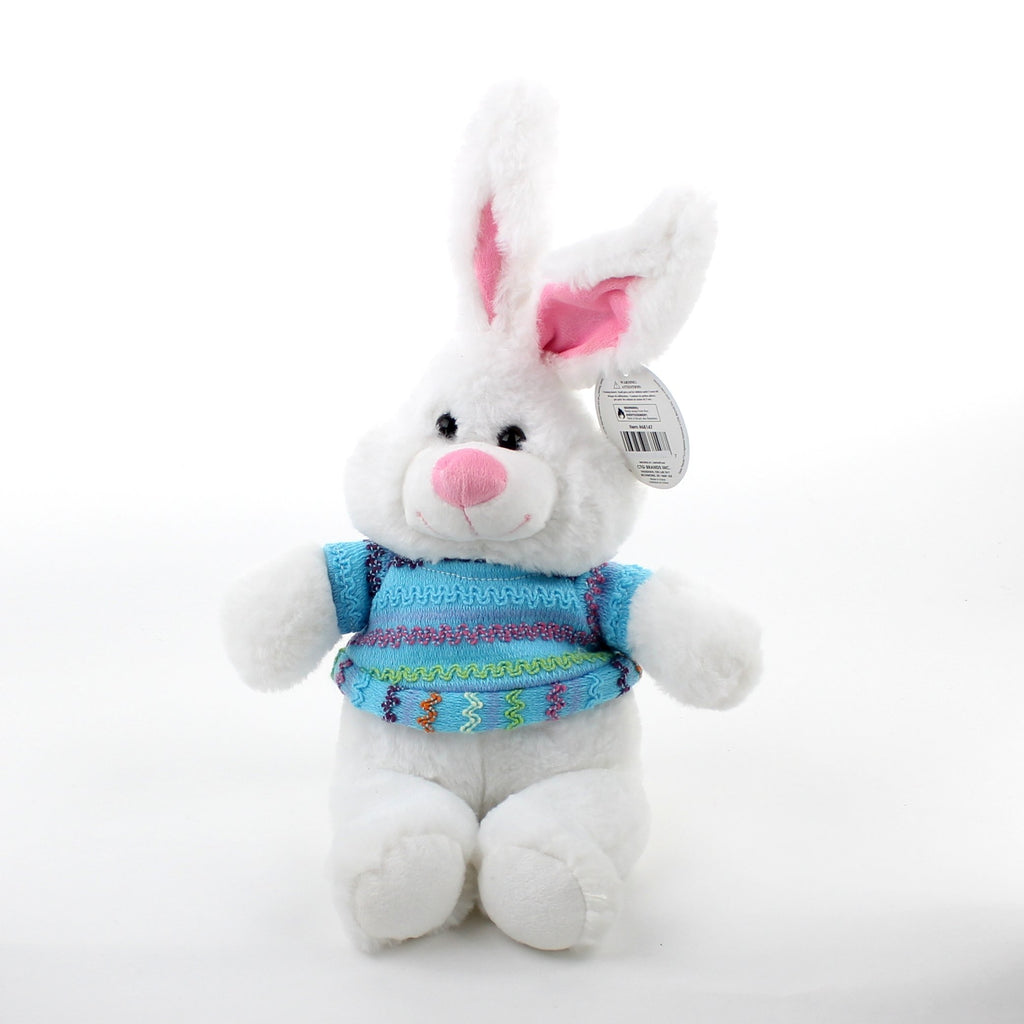 Easter 7.5in Soft Plush Bunny with T Shirt 2asst