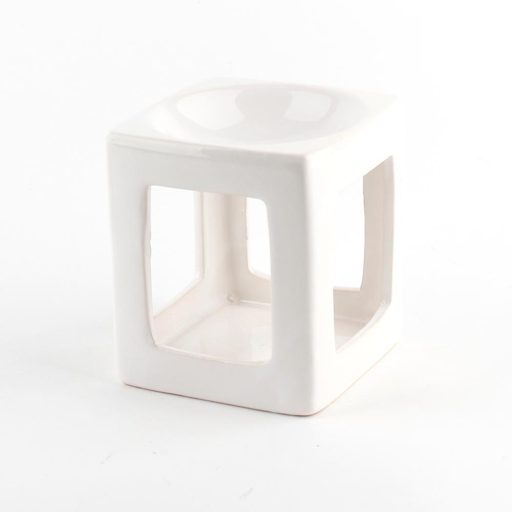 Modern Oil Burner, Sq. White, 3x4""