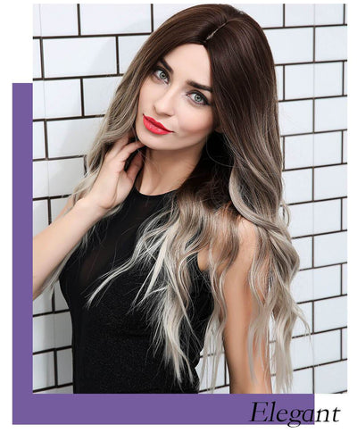 Synthetic Dark Root Ombre Grey Long Wavy Hair Wigs SW071