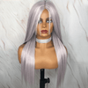 Long Silky Straight  Purple Highlight White Synthetic Wig