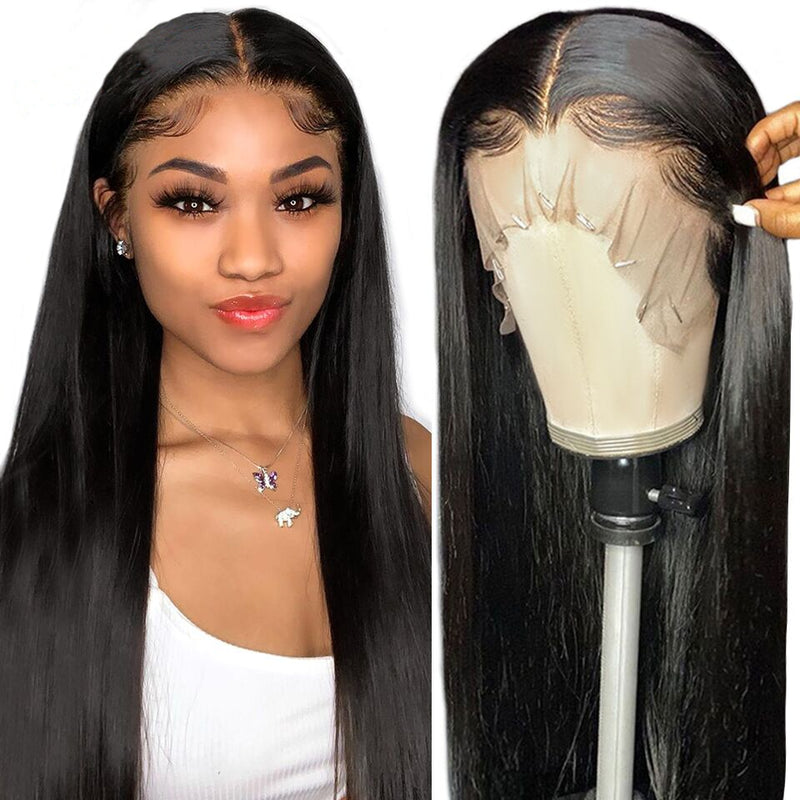 CHEAP HD Transparent Lace Frontal Wigs 180% Straight Lace Front Wig T Part Brazilian Bone Straight Human Hair Wigs