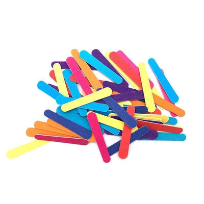 JEARLYU - 50 Pcs/lot Mini Nail Files 180/240 Colorful Wooden