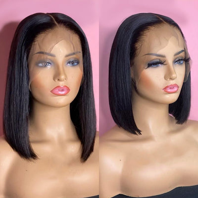 Cheap 4x4/13x4 Lace Front Human Hair Wigs Blunt Cut Bob Wig