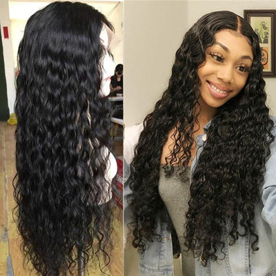 30 inch Curly Human Hair Wig Water Wave Lace Front Human Hair Wigs