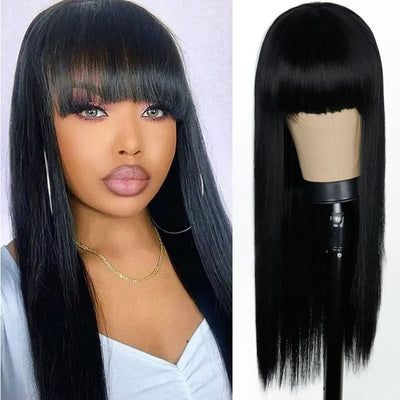 Pink and Black Wig Long Straight hair Cosplay Wig